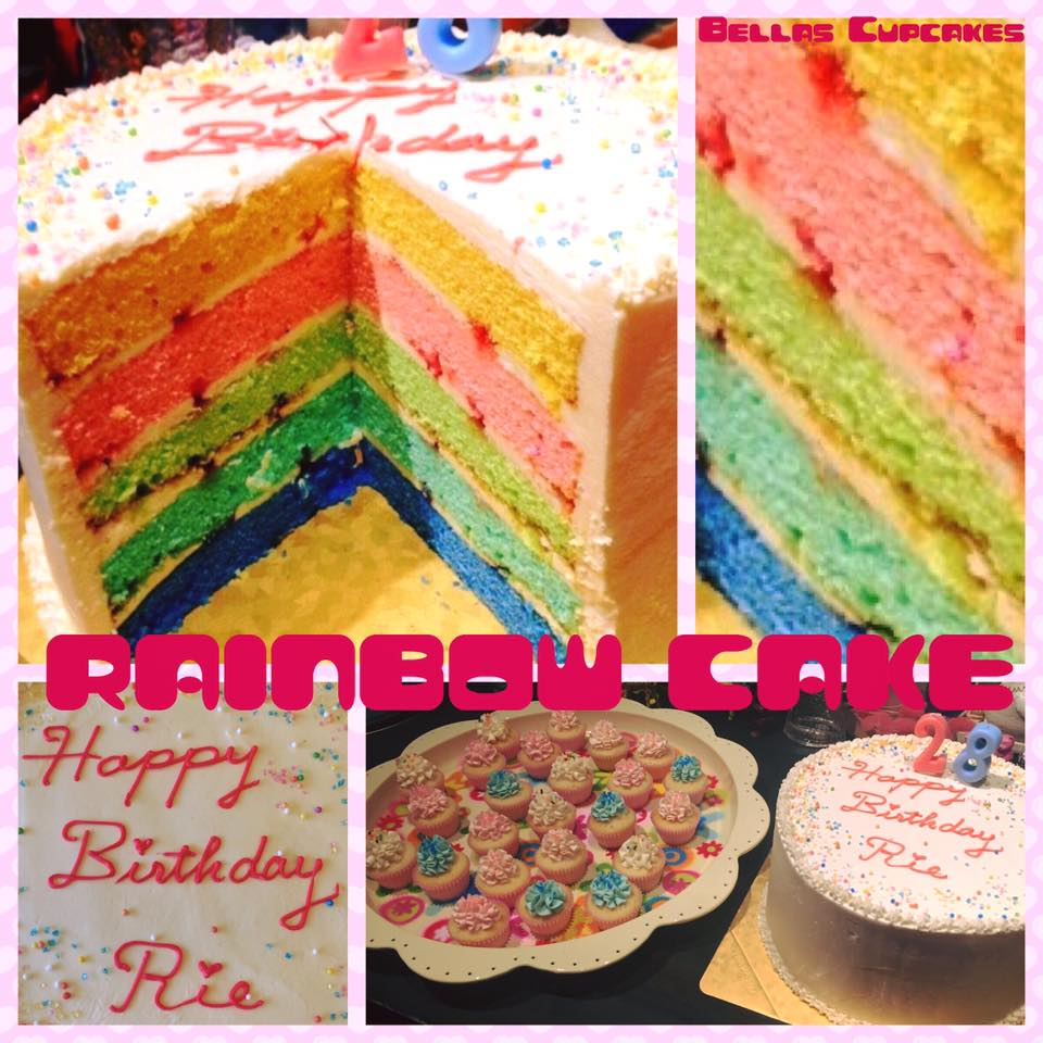 Photo1: Rainbow 5 layer vanilla cake (1)